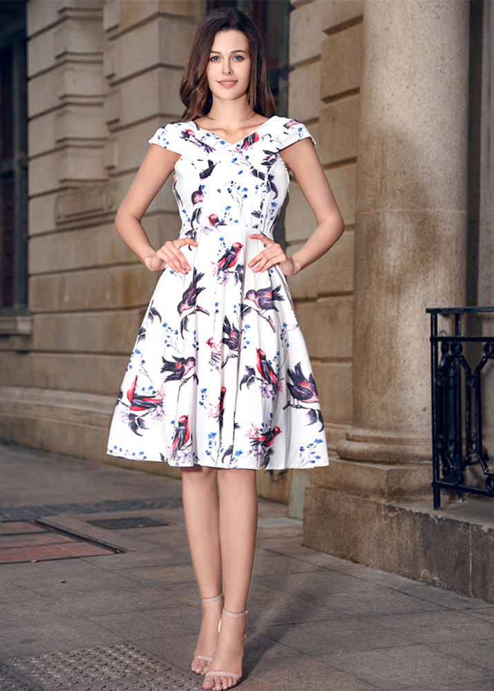 Summer Dress 2017 Vintage Rockabilly Dress Jurken 60s 50s Retro Big Swing Floral Pinup Women Audrey Hepburn Women Dress Vestidos