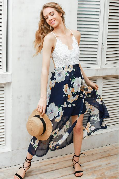 White Lace Top Floral Maxi Dress