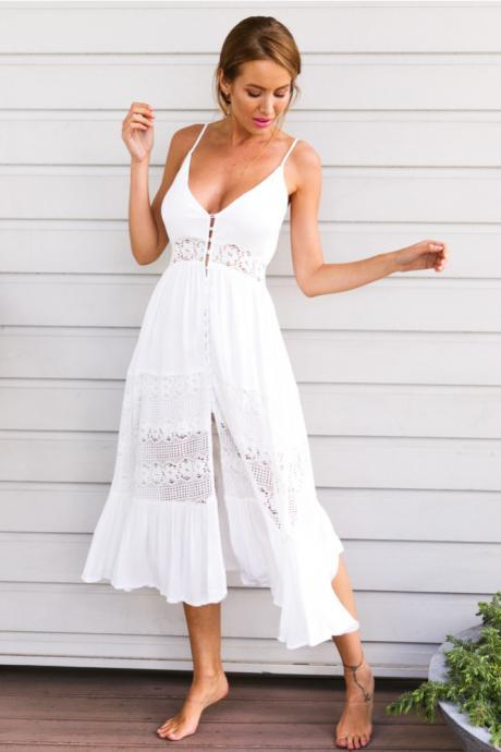 Butter Cake Maxi Dress White LLM3046