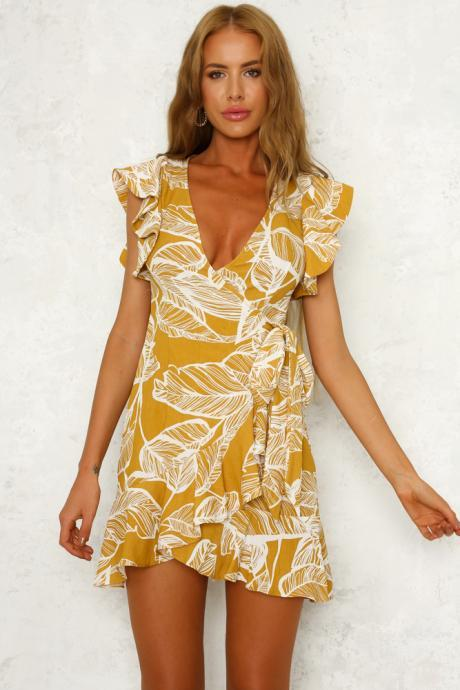 Along The Coast Floral Wrap Up Dress Yellow LLM3075