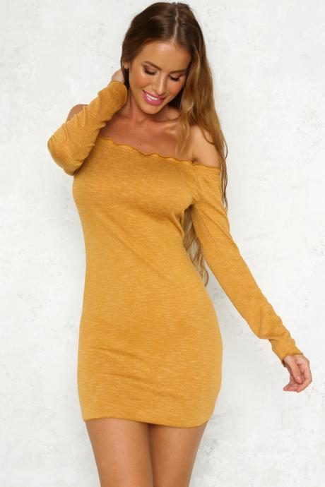 Mustard Yellow Off the Shoulder Long Sleeve Short Bodycon Dress LLM3096