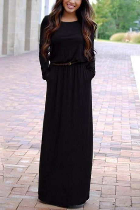 Summer Casual Long Dresses For Women Long Sleeve With Belt Floor Length Maxi Dress Women O Neck Solid Dress Female Vestidos