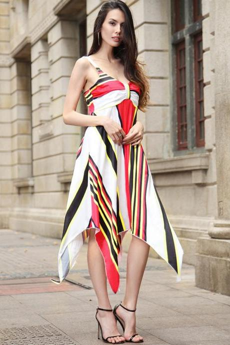 Fashion Summer Dress 2018 Halter Plus Size Beach Boho Women Dress Female Striped Irregular Casual Party Dress Elegant Vestido