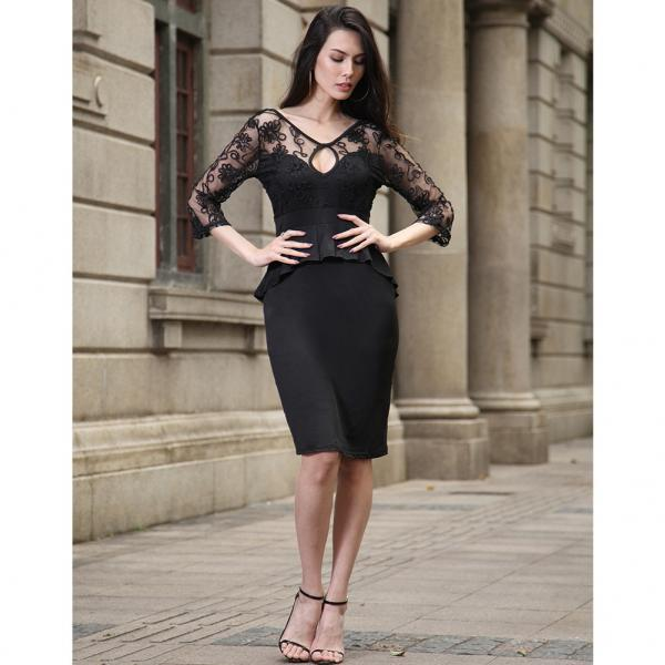 Mini Womens Dress Elegant Wedding Casual Black Party Dress Sexy Night Club V-Neck Pencil Lace Summer Dress Vestidos