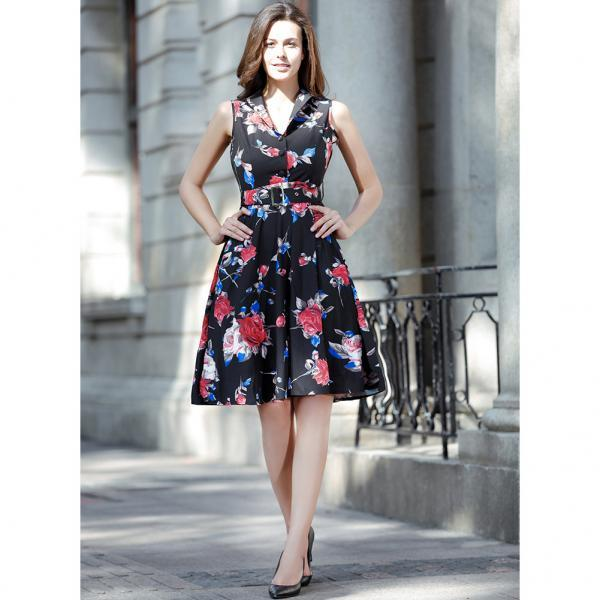 Floral Print Women Summer Dress 2018 Hepburn 50s 60s Retro Swing Vintage Casual Dress A-Line Party Dresses With Belt Plus Size